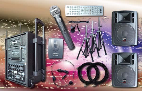 e3 portable wiireless auderpro ap909pa dvd usb kaset vhf sound system pa 2 speaker aktif ap112a 12 inch