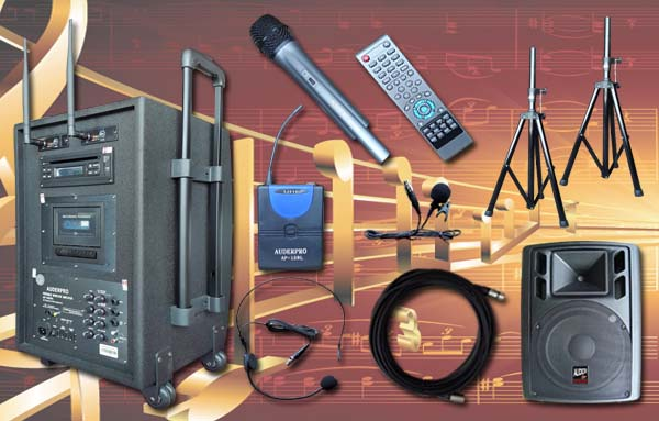 e4 portable wiireless auderpro ap1282pa dvd usb kaset trolly uhf sound system pa1 speaker aktif ap112a 12 inch