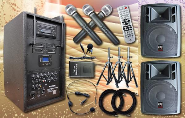 e9 portable wiireless auderpro ap1284pa bluetooth dvd usb 2 speaker aktif ap115a 15 inch