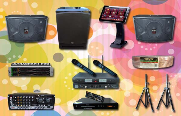paket karaoke 3 mesin lagu audio mixer speaker