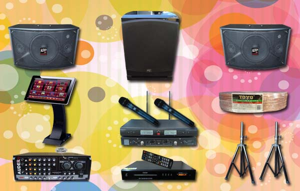 paket karaoke 4 mesin lagu audio mixet speaker