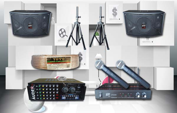 paket karaoke h auderpro mixer amplifier speaker mic wireless bmb